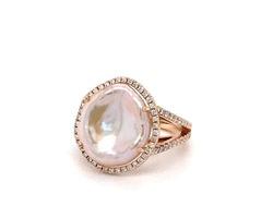 ring natuurlijke parel en diamant